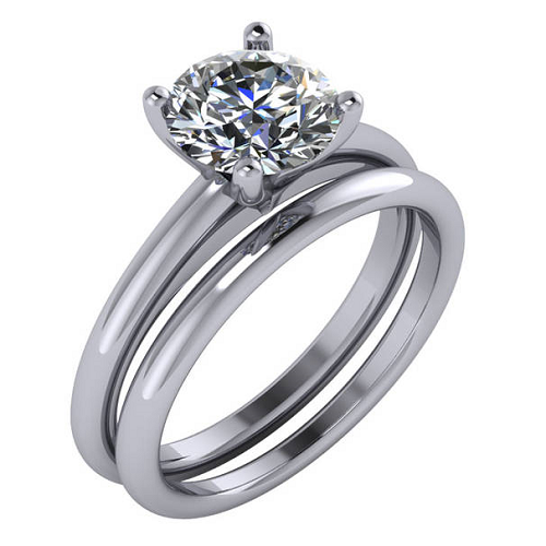 Solitaire Engagement Ring With Round Cut Diamond And Matching Plain Wedding Band